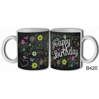 Bögre - Happy Birthday (virágos)