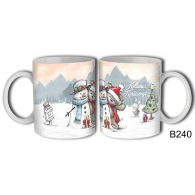 Bögre - Kellemes Karácsonyt! (hóember, maci)