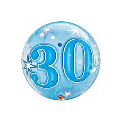 22 inch-es 30. szülinapra kék szikrázó csillag mintás bubbles léggömb