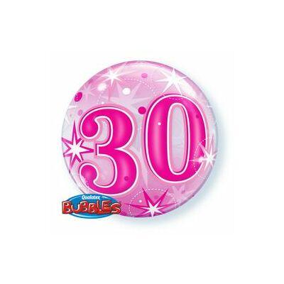 22 inch-es 30. szülinapra pink szikrázó csillag mintás bubbles léggömb