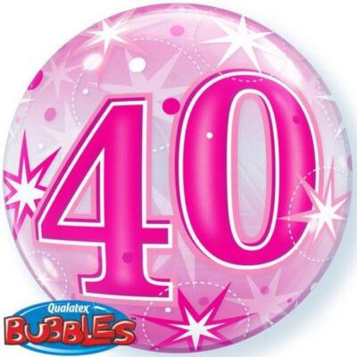22 inch-es 40. szülinapra pink szikrázó csillag mintás bubbles léggömb