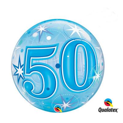 22 inch-es 50. szülinapra kék szikrázó csillag mintás bubbles léggömb