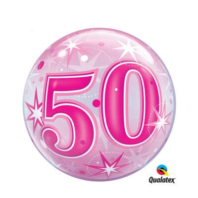 22 inch-es 50. szülinapra pink szikrázó csillag mintás bubbles léggömb
