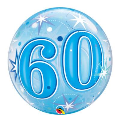 22 inch-es 60. szülinapra kék szikrázó csillag mintás bubbles léggömb