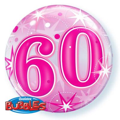 22 inch-es 60. szülinapra pink szikrázó csillag mintás bubbles léggömb