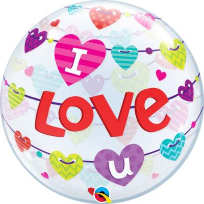 22 inch-es 'I Love U' banner mintás szerelmes bubble léggömb