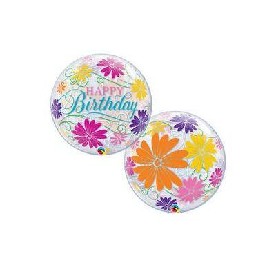 22 inch-es Bubbles léggömb, 'Happy Birthday !' felirattal, virág mintával