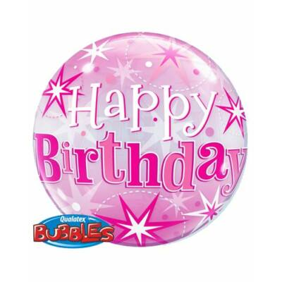22 inch-es 'Happy Birthaday' felirtaú szikrázó csillag mintás, pink bubbles léggömb