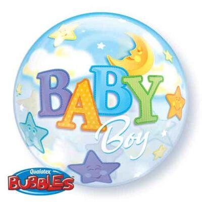 56 cm-es Baby Boy holdas, csillagos Bubbles léggömb babaszületésre