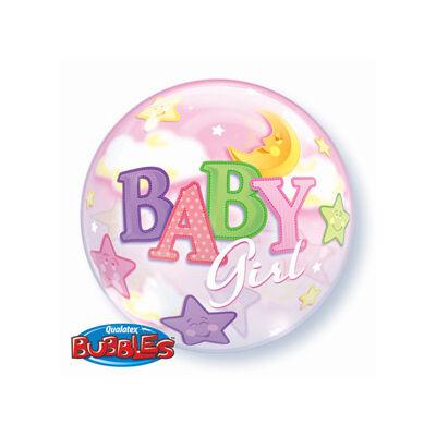 56 cm-es Baby Girl holdas, csillagos Bubbles léggömb babaszületésre