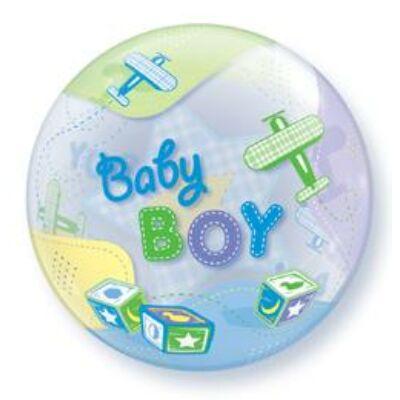 56 cm-es Bubbles léggömb babaszületésre, Baby Boy repülős