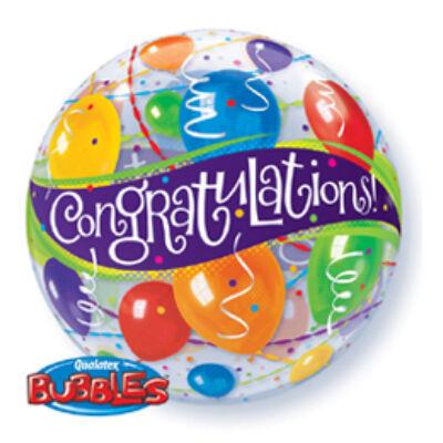 56 cm-es Bubbles léggömb Congratulations felirattal