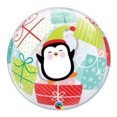 56 cm-es Bubbles léggömb, karácsonyra, pingvin mintával