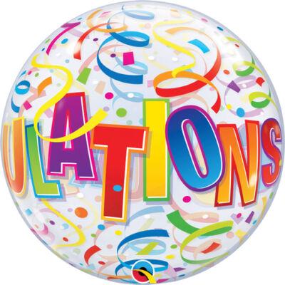 56 cm-es 'Congratulations'  színes szerpentin szalag mintás bubble léggömb