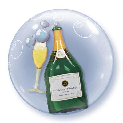 61 cm-es bubble léggömb - Pezsgősüveg és pohár (dupla kivitel - lufi a lufiban)