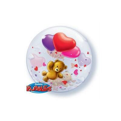 56 cm-es Teddy Maci Szives Bubble Léggömb