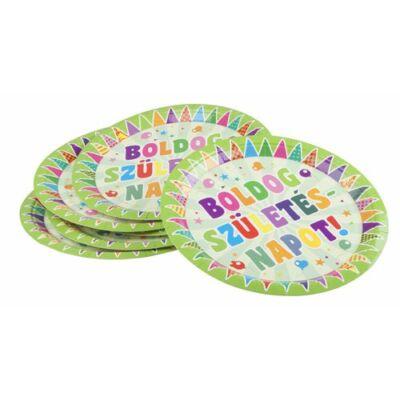 Papír tányér, Zászlós, Boldog Születésnapot felirattal