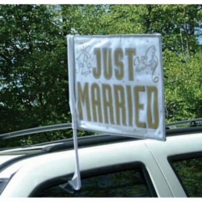 Just Married zászló autóra
