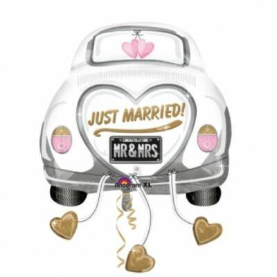 Super fólia lufi, Just Married feliratos, autó alakú