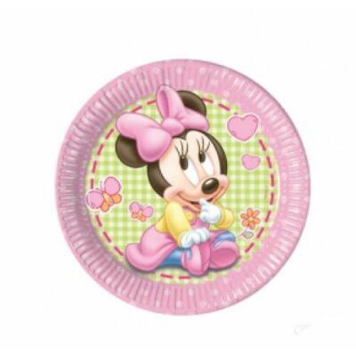 Bébi Minnie Mouse papír tányér 23 cm-es 8 db