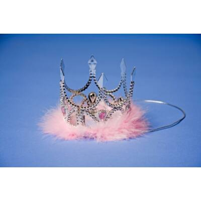 Mini ezüst korona rózsaszín kövekkel és tollakkal