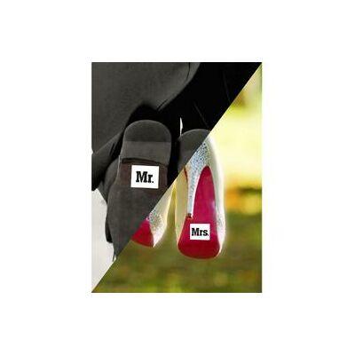 Tréfás Ifjú Férj Cipőmatrica Mr. És Mrs. Felirattal - 2 db-os
