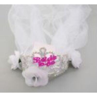 Fátyolos tiara Bride to be felirattal