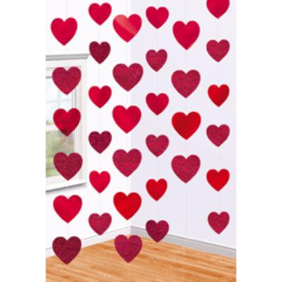 Piros színű, szíves szerelmes függő dekoráció