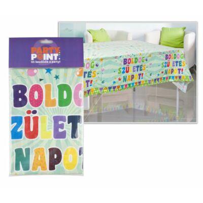 Műanyag asztalterítő, Zászlós, Boldog Születésnapot felirattal 130 x 180 cm