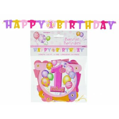 Első szülinapi 'Happy Birthday' betűfüzér - Lányos