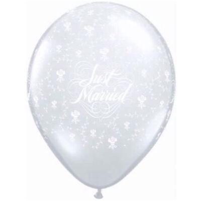 16 inch-es 'Just Married' feliratú átlátszó esküvői léggömb