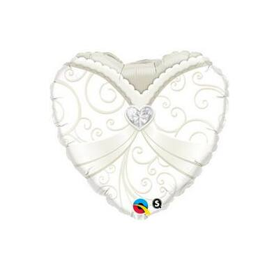 18 inch-es Menyasszonyi ruha mintás szív alakú esküvői fólia léggömb