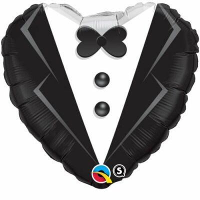 18 inch-es Szmoking mintás szív alakú esküvői fólia léggömb