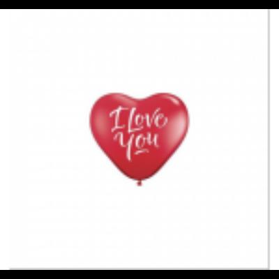 40 cm-es szív gumi lufi, I love you felirattal