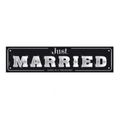 Fekete Just Married feliratos esküvői rendszámtábla