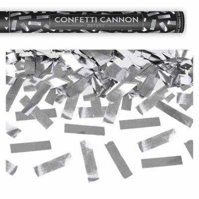 Konfetti ágyú ezüst szalagokkal 80 cm