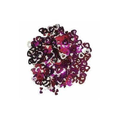 Konfetti - pink, fehér, lila szívek - 15 g