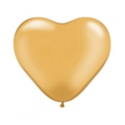 Szív alakú 15 cm-es gumi lufi - arany