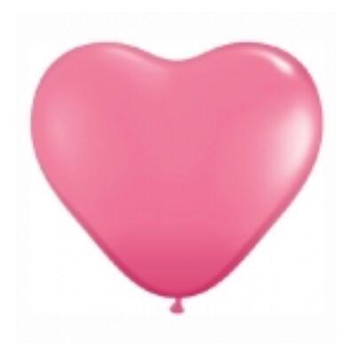 Szív alakú 15 cm-es gumi lufi - közép rózsaszín