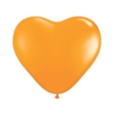 Szív alakú 15 cm-es gumi lufi - narancssárga