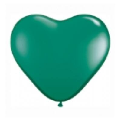 Szív alakú 15 cm-es gumi lufi - smaragd zöld