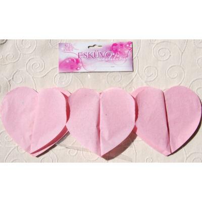 Szív girland, rózsaszín színben