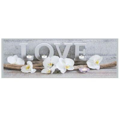 Világító falikép, fehér orchidea és LOVE mintával, 4 LED-es