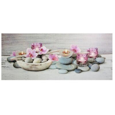 Világító falikép, pink orchidea mintával, 5 LED-es