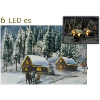 Világító falikép, lovaskocsi télies mintával 6 LED-es