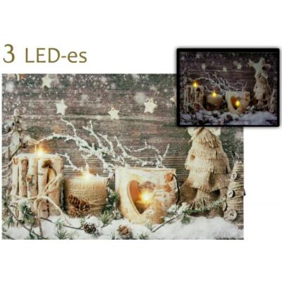 Világító falikép, mécseses, télies mintával 3 LED-es
