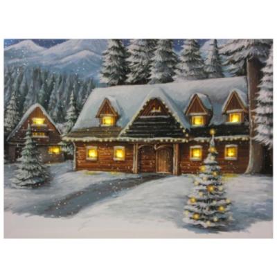 Világító falikép, téli ház, 9 LED-es