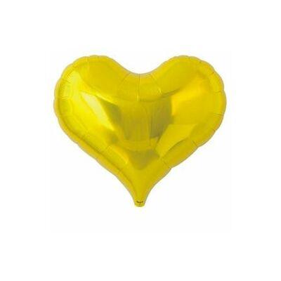 14 inch-es jelly metallic arany szív alakú fólia léggömb (Ibrex)