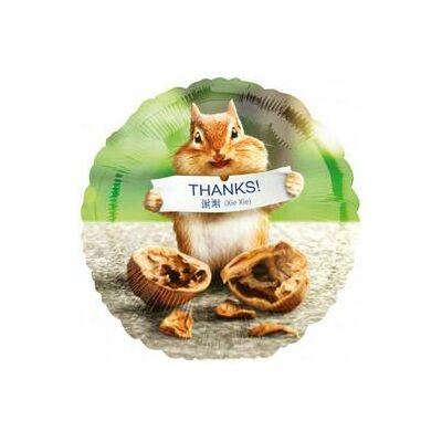 18 inch-es fólia léggömb, 'Thanks!' felirattal, mókus mintával