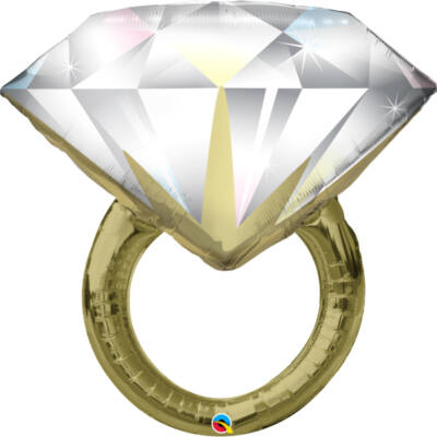 37 inch-es fólia léggömb, gyémánt gyűrű alakú